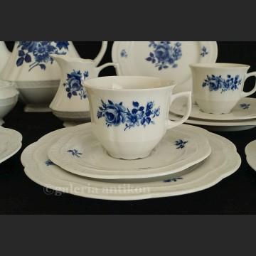 Prześliczny bawarski serwis do herbaty na 6 osób Zeh Scherzer biel i kobalt klasyk