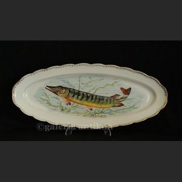 Francuski zestaw do ryb piękna patera i 12 talerzy z rybami