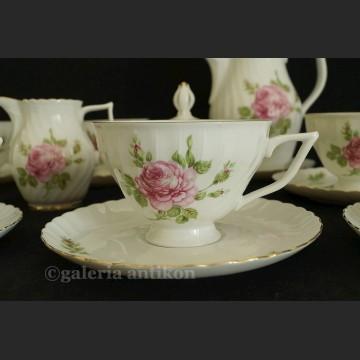 Uroczy komplet do kawy/ herbaty na 7 osób serwis w róże Royal Tettau