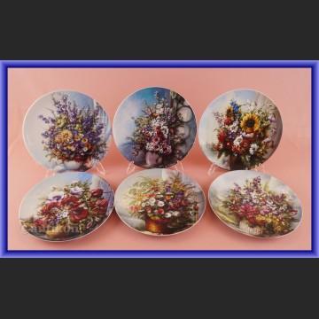 Ekskluzywna porcelana Rosenthal Kwiaty w oknie talerze kolekcjonerskie
