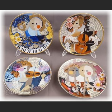 Talerz kolekcjonerski Hutschenreuter Wesoli Muzykańci cała kolekcja