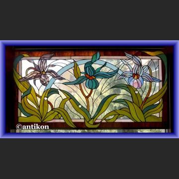 Witraż okienny secesyjny wykwintny szklany