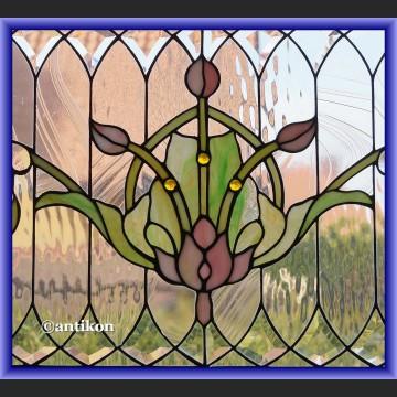 Witraż okienny szklany Tiffany zjawiskowy secesyjny