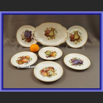 Serwis Rosenthal komplet deserowy z paterą wzór z owocami XIX w