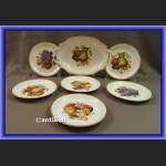 Porcelana Rosenthal serwis komplet deserowy z paterą wzór z owocami