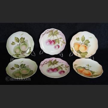 Porcelana Rosenthal uroczy komplet 6 talerzy z owocami Madeleine