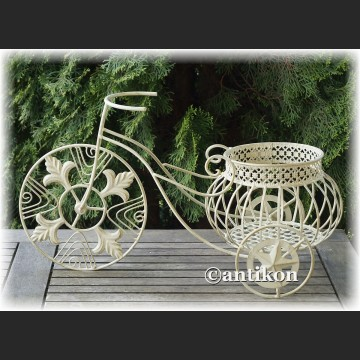Biały kwietnik prowansalski metalowy rowerek