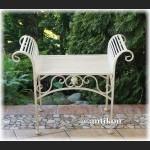 Biały kwietnik sofka siedzisko prowansalskie metalowe