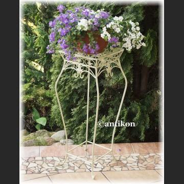 Biały wysoki stołek kwietnik prowansalski metalowy