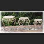 Trzy metalowe kwietniki stołki prowansalskie metalowe