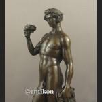 Bachus z faunem ogromny brąz salonowa rzeźba bóg wina