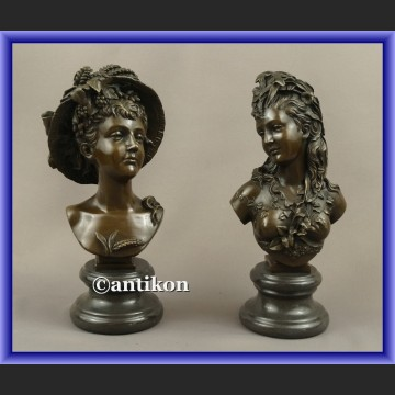 Figurki z brązu popiersia kobiet Carrier popiersie francja