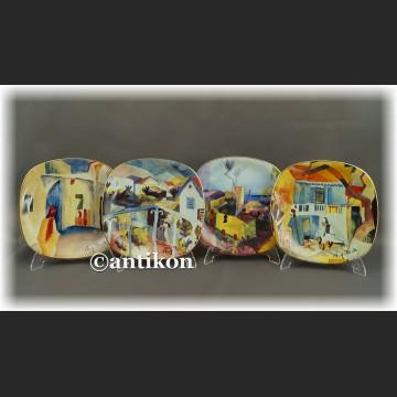 Podróż do Tunezji komplet modernistycznych talerzy kolekcjonerskich A. Macke