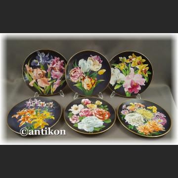 Ekskluzywna porcelana Kwiaty ogrodowe kolekcjonerskie talerze cała seria z certyfikatem