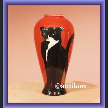 Piękny recznie malowany wazon porcelanowy wazon z kotem Le Chat Noir