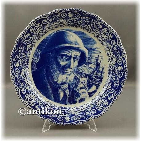 Rybak duży kobaltowy talerz kolekcjonerski