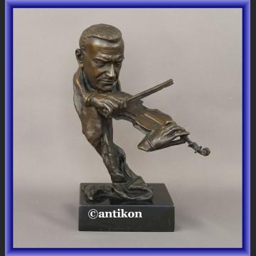 Rzeźba z brązu skrzypek duże popiersie