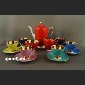 Serwis do kawy Chodzież kolorowy złocony lata 60 Modernistyczny