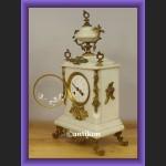 Zegar kominkowy elegancki z białego marmuru wspaniały stary