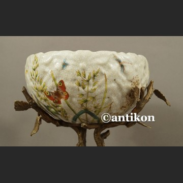 Patera secesyjna porcelana na konarze z brązu