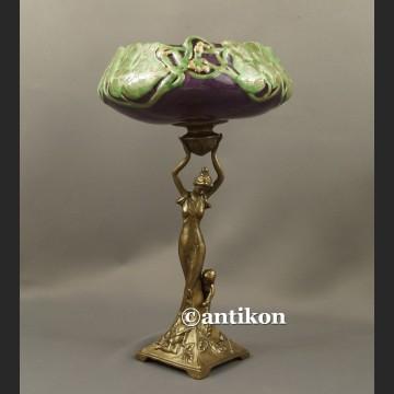 Patera secesyjna figuralna porcelana z brązem