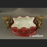 Patera barokowa z aniołami porcelana z brązem