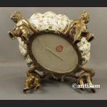 Patera z aniołami wielka barokowa porcelana okuta brązem