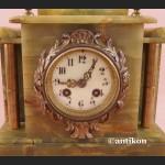 Zegar kominkowy stary z onyksu zielony marmur