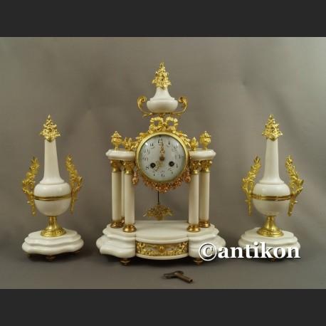 Stary zegar portykowy z białego marmuru z przystawkami ok. 1900r