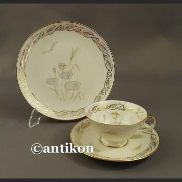 Filiżanka kolekcjonerska bawarska porcelana Nenufary trio