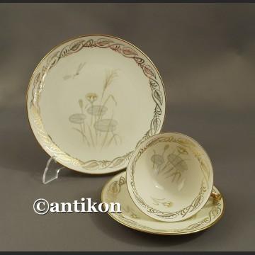 Filiżanka kolekcjonerska stara bawarska porcelana Nenufary trio