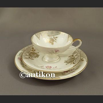 Filiżanka kolekcjonerska stara bawarska porcelana trio złote róże