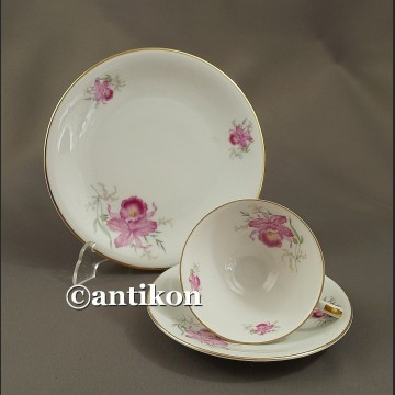 Filiżanka kolekcjonerska stara bawarska porcelana zestaw śniadaniowy kwiatowe trio