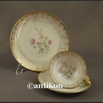 Filiżanka kolekcjonerska stara porcelana różana śniadaniówka trio