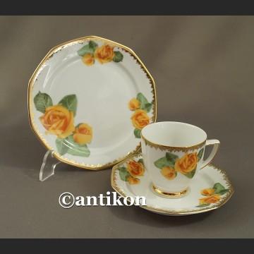 Filiżanka vintage zestaw śniadaniowy herbaciane róże trio