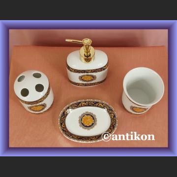 Akcesoria łazienkowe zestaw z porcelany mydelniczka dozownik kubek porcelana Limoges