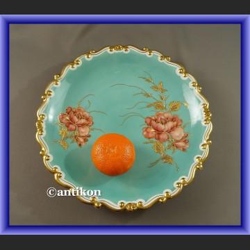 Bawarska porcelana Patera do ciasta Schaubauch turkus