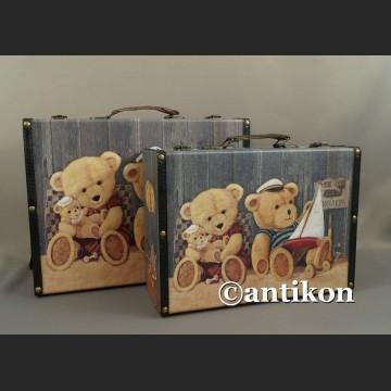 Walizki vintage z misiami komplet dekoracyjnych pudeł