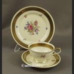 Śniadaniówka filiżanka kolekcjonerska Kwitnąca wiosna stara bawarska porcelana trio
