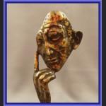 Myśliciel brąz maska modernistyczna rzeźba unikat