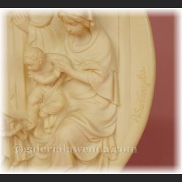 Relief alabastrowy płaskorzeźba pokłon Trzech Króli