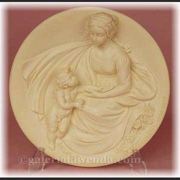 Relief alabastrowy płaskorzeźba Madonna z Dzieciątkiem