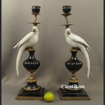 Para świeczników z papugami ogromne porcelana z brązem