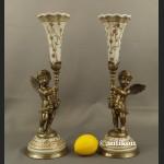 Świeczniki pałacowe z amorkami porcelana z brązem