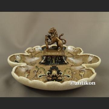 Patera z lwem kabaret porcelanowy