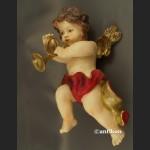 Anioł z trąbką duża barokowa figurka