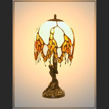 Lampa z bursztynem witrażowa piękny design