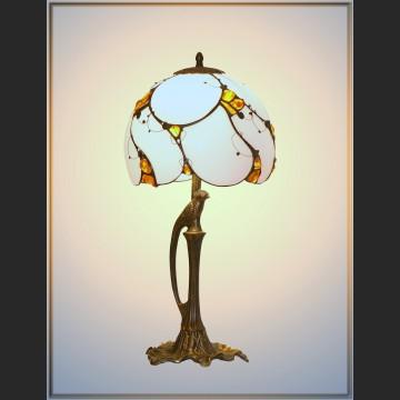 Lampa z bursztynem witrażowa z ptakiem