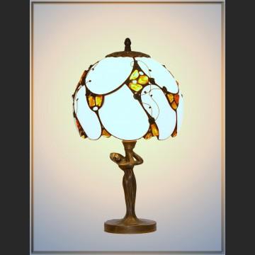 Lampa z bursztynem witrażowa z panienką