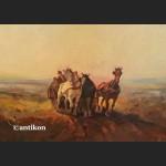 Obraz olejny wielki Trojka pocz. XX w rama kossakówka